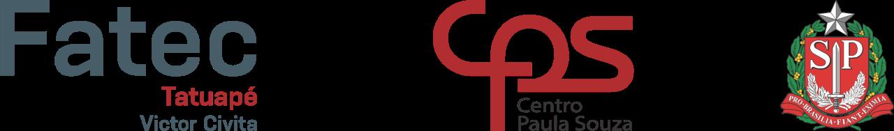 Imagem com 3 logos na horizontal. À esquerda está o logo da Fatec Tatuapé, no centro está o logo do Centro Paula Souza e à direita está o brasão do Estado de São Paulo.